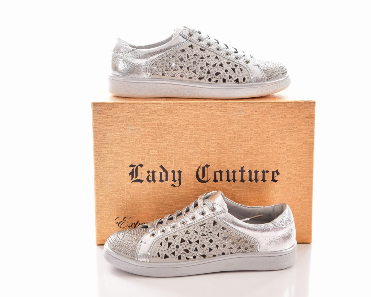 LADY COUTURE RHINESTONE SNEAKER-SILVER